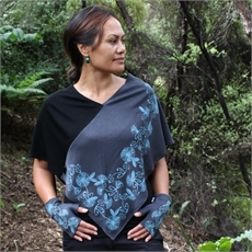 Merino Poncho Lge Koru Pohutukawa Lead -clothing-and-accessories-The Vault
