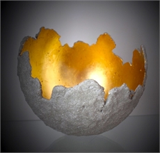 Medium Orb Concrete and Gold Leaf-house-The Vault