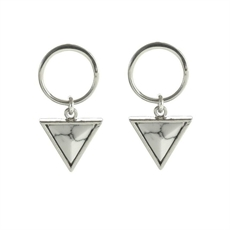 Ring Wht Howlite Rhodium Triangle Studs-earrings-The Vault