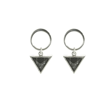 Ring Blk Howlite Rhodium Triangle Studs -earrings-The Vault