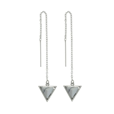 Thread Wht Howlite Rhodium Tri Studs-earrings-The Vault