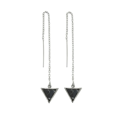 Thread Blk Howlite Rhodium Tri Studs -earrings-The Vault