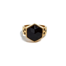 Gold Plate Six Reasons Ring Onyx -jewellery-The Vault