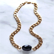 Gold Plate Onyx 10mm Necklace -necklaces-The Vault