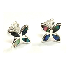 Silver Paua Frangipani Studs-earrings-The Vault
