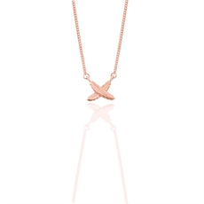 9ct Rose Gold Feather Kisses Petite Pend-necklaces-The Vault