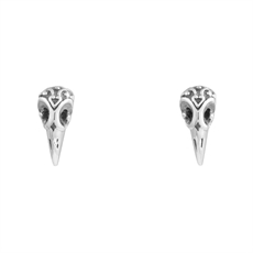 Raven Skull Stud-earrings-The Vault