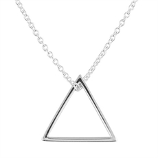 Open Triangle Necklace with Chain-necklaces-The Vault