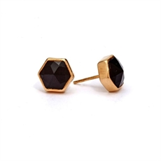 Gold Plate Six Reasons Studs Onyx -earrings-The Vault