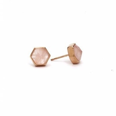 Gold Plate Six Reasons Studs Rose Qtz  -earrings-The Vault