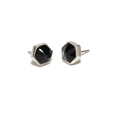 Silver Six Reasons Studs Onyx-earrings-The Vault