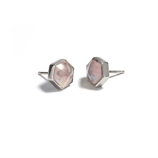 Silver Six Reasons Studs Rose Quartz-earrings-The Vault
