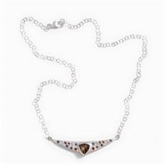 Silver Trillion Smoky Quartz Necklace-jewellery-The Vault