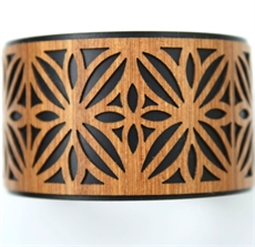 Laser Veneer Cuff Frangipani Black-jewellery-The Vault