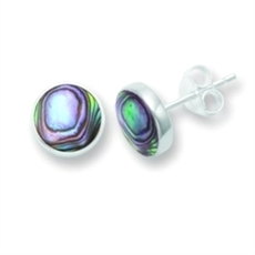 Paua Silver 6mm Round Studs-earrings-The Vault