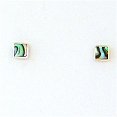 Paua Silver Square Studs-earrings-The Vault