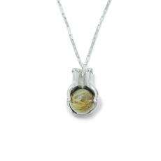 Rutile Quartz Crystal Ball Necklace-jewellery-The Vault