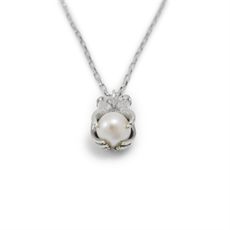 Pearl Crystal Ball Necklace Silver-necklaces-The Vault