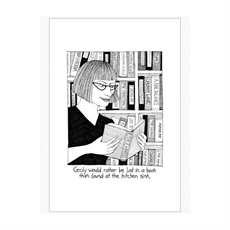 Cecily Teatowel Lost in a Book -woman-The Vault