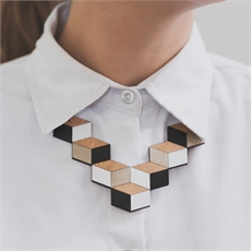 Cube Necklace Black and White-sustainable-jewellery-The Vault