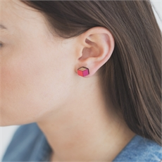 Cube Earrings Red and Pink -earrings-The Vault