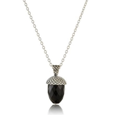 Acorn Gem Pendant Sil Blk Onyx-kerry-rocks-The Vault