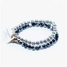 Bracelet Set Navy Cut Glass and Silver-view-all-jewellery-The Vault