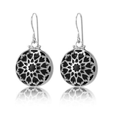 Fez Blk Onyx Earrings - Silver-earrings-The Vault