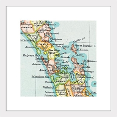 Vintage Map Print Auckland Matted-home-and-wedding--The Vault