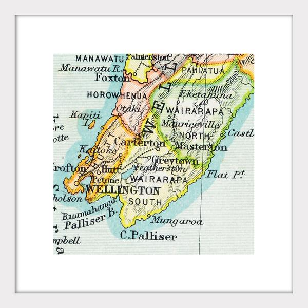 Map Of Wellington New Zealand.Wellington Vintage Map Print Framed Gifts For Home From The Vault