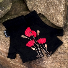 Merino Mitts Short Poppy Black-for-her-The Vault