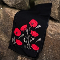Merino Scarf Poppy Black-clothing-and-accessories-The Vault