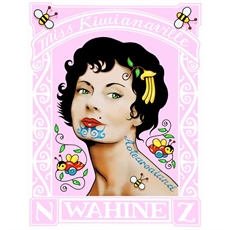 Pink Wahine Stamp – A4 Print-house-The Vault