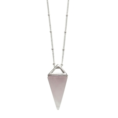 Pyramid Nklace Long Stg Silver Rose Qtz-pam-kerr-The Vault