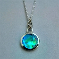 Small Paua Disc Pendant Rings Top-necklaces-The Vault