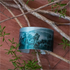 Alum Cuff Forest Teal-jill-main-The Vault