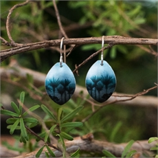 Aluminium Forest Earrings Teal-jill-main-The Vault