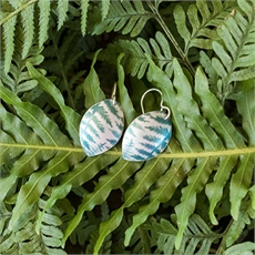 Aluminium Ponga Earrings Teal-jill-main-The Vault