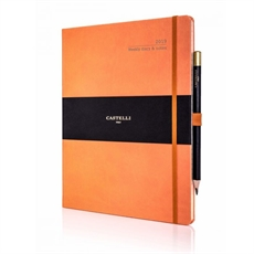 Tucson Ivory Large Weekly Diary Orange-office-The Vault
