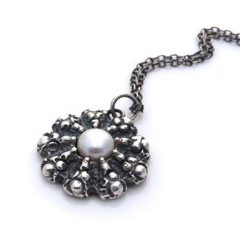 Sand Dollar Silver Necklace with Pearl