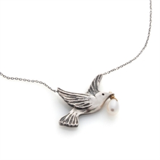 Dove Necklace Stg Silver with Pearl-necklaces-The Vault