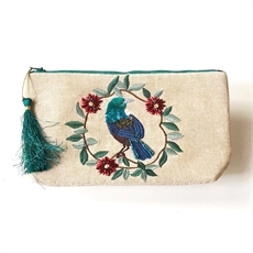 Cosmetic Pouch Tui w Pohutukawa Wreath-caroline-mitchell-The Vault