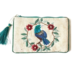 Pouch Tui w Pohutukawa Wreath-for-her-The Vault