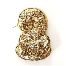 Shaped Coin Purse Tiki Gold Sequins -for-her-The Vault