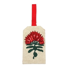 Luggage Tag Linen w Pohutukawa-kiwiana-The Vault
