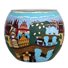 Tealight Holder Med Blue Prague-house-The Vault