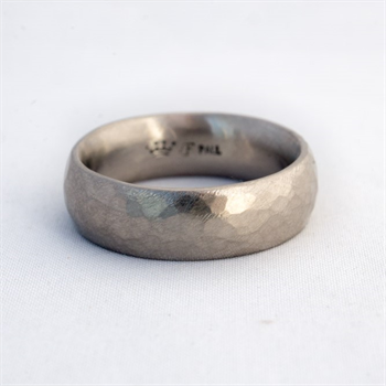 Ring Palladium Rustic Hammered Matt