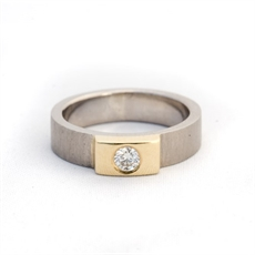 Ring Palladium Band 18ctYellGold Diamond-jewellery-The Vault