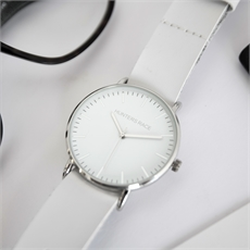 Athena Watch with White Leather Strap -clothing-and-accessories-The Vault