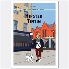 Hipster Tintin Print A3-house-The Vault